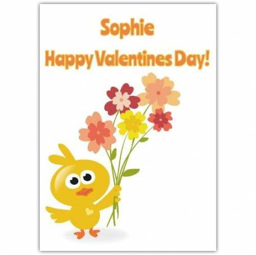 Happy Valentine's Day Chick & Flowers Card