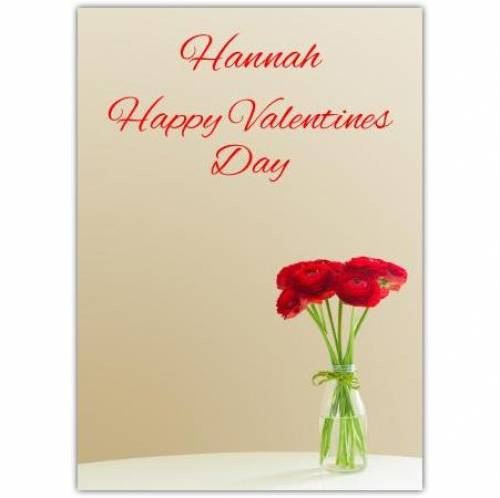 Happy Valentine's Day Red Flowers Card