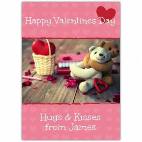 Happy Valentine's Day Hugs & Kisses Card