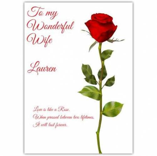 Happy Valentine's Single Red Rose Card