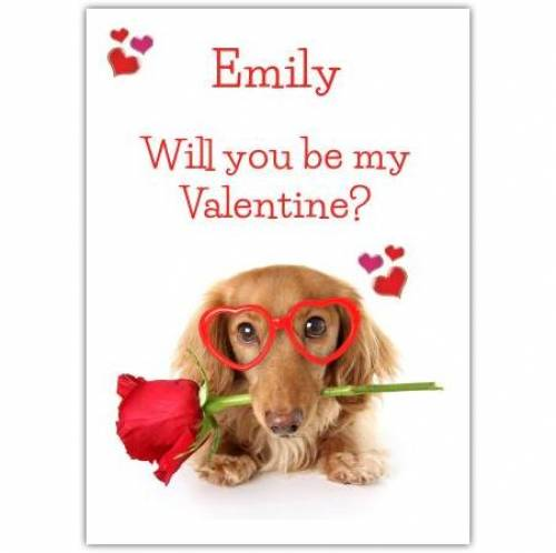 Be My Valentine Dog With Rose Card