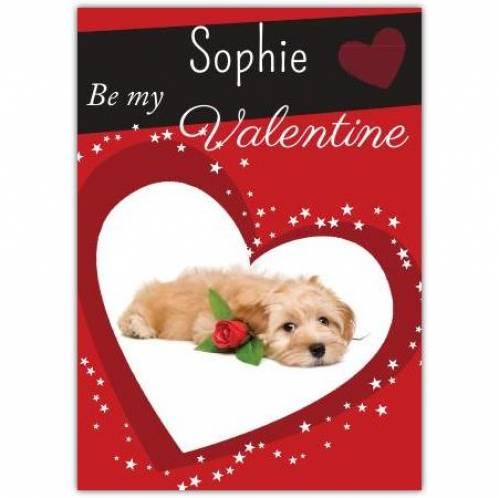 Be My Valentine Dog Lying Down Card