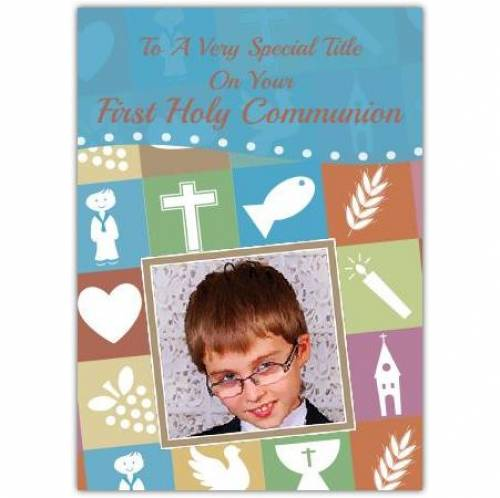 First Holy Communion Photo Blue Card