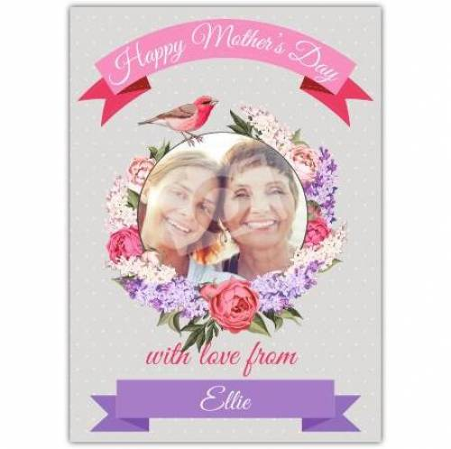 Happy Mothers Flower Circle Photo Card