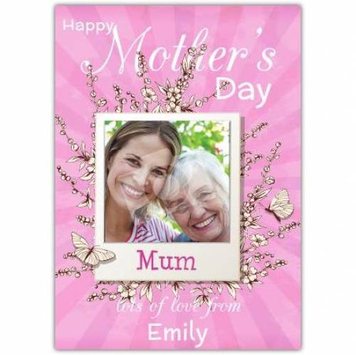 Happy Mothers Day Square Photo Pink Card