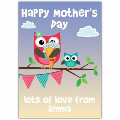Happy Mothers Day Little And Big Owls Card