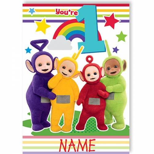 You're 1 Teletubbies Birthday Card