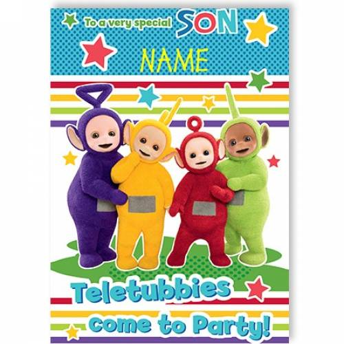 Very Special Son Teletubbies Come To Party Card