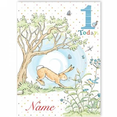 One Today Bunny Rabbit Boy Birthday Card