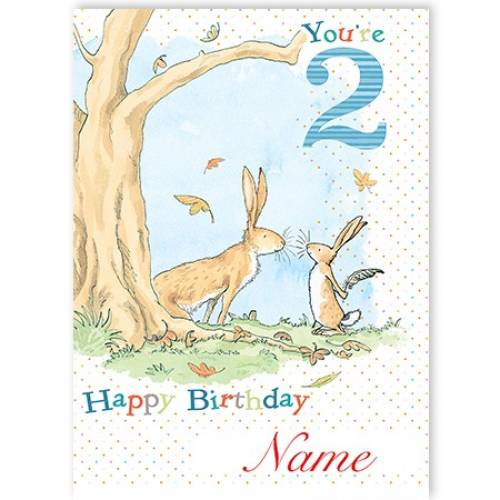 You're 2 Bunny Boy Birthday Card