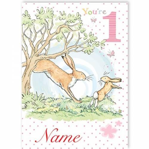 One Today Bunny Rabbit Girl Birthday Card