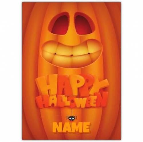 Happy Halloween Pumpkin Smiley Face Card