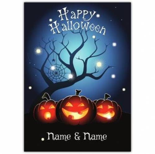 Happy Halloween Tree And Spiders Web Card