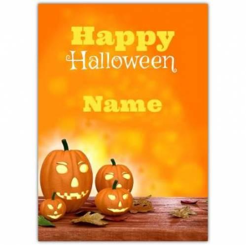 Happy Halloween Four Pumpkins Card