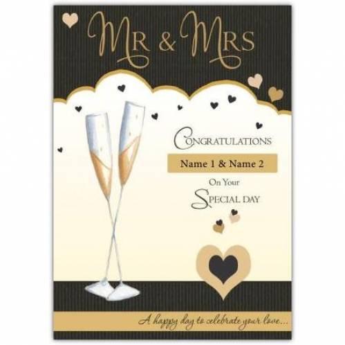 Mr & Mrs Champagne Flutes Card