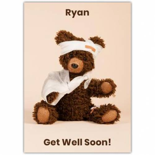 Get Well Soon Bandaged Bear Card