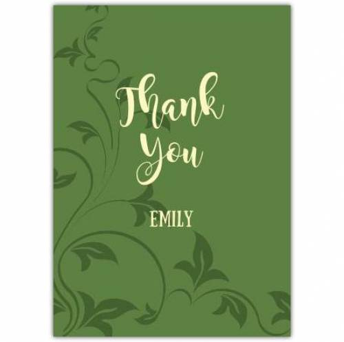 Thank You Green Leaves Card
