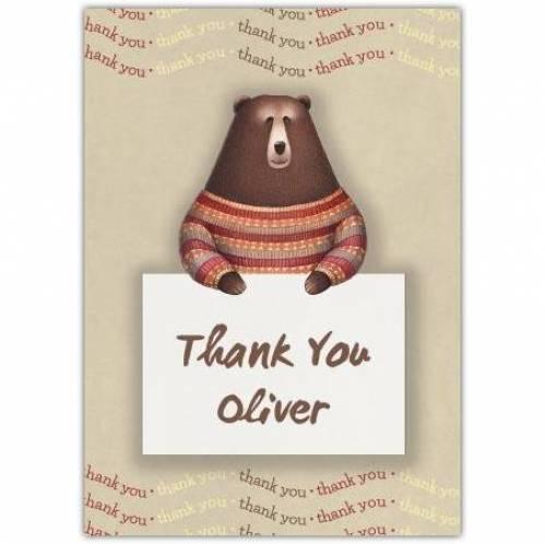 Thank You Bear In Jump Card