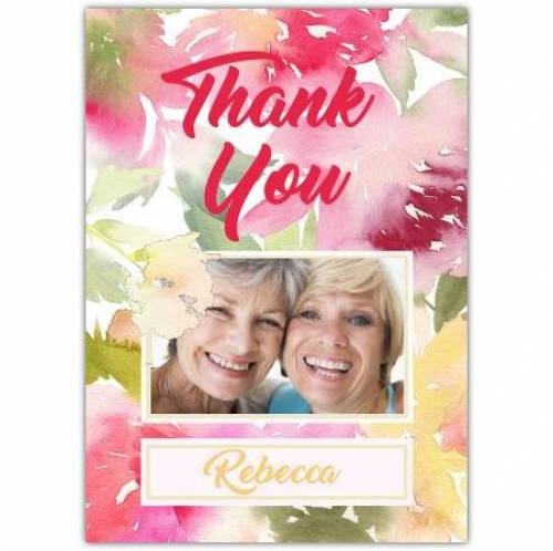 Thank You Photo Water Coloured Flowers Card