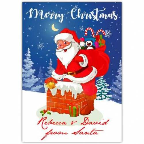Christmas Smiling Santa In Chimney Card