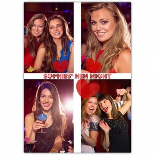 Hen Night Four Photos Card
