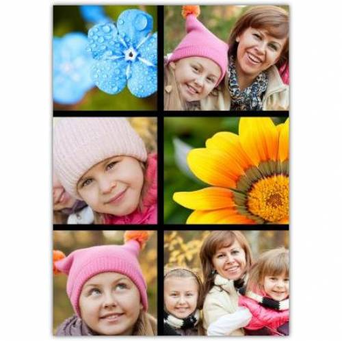 Four Photos And Two Flower Block Card