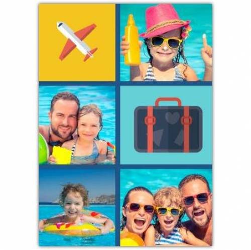 Four Photos Suitcase And Plane Card