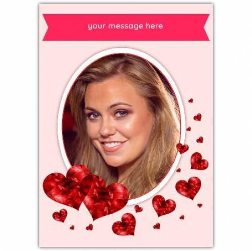 Any Message And Photo Floating Hearts Card