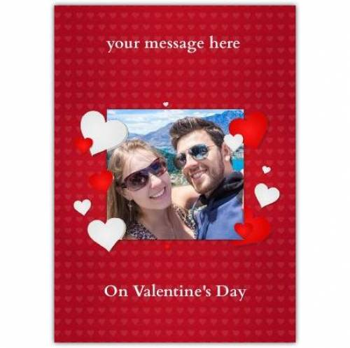 Valentines Photo Hearts Red Card