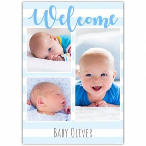 Welcome Baby Three Blue Photos Card