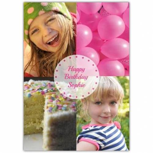 Two Photo Birthday Balloons And Cake Card
