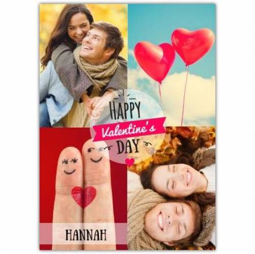 Valentines Day Two Photos Fingers And Heart Balloons  Card