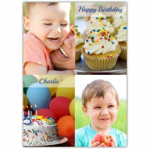 Happy Birthday Two Photos Cake And Cupcake Card