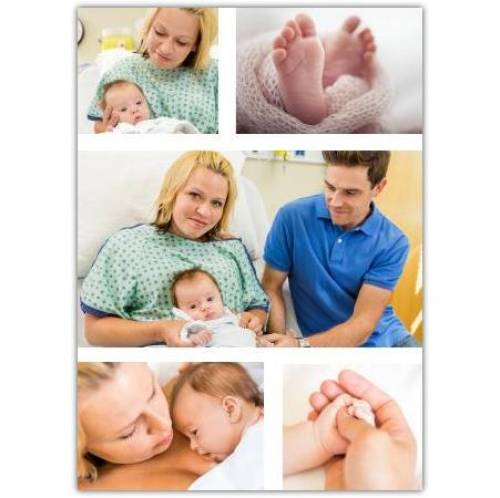 Three Photos With Baby Feet And Hand Card