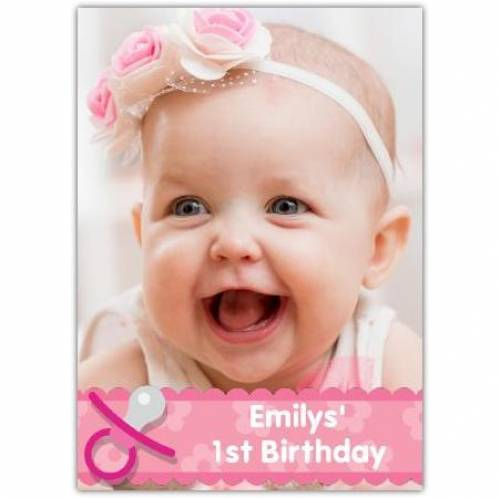 First Birthday Pink Soother Card