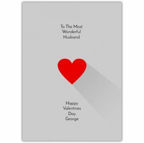 To The Most Wonderful Husband Grey Valentines Day Card