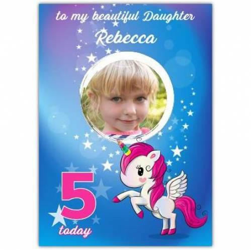 One Photo Unicorn Stars Birthday Greeting Card