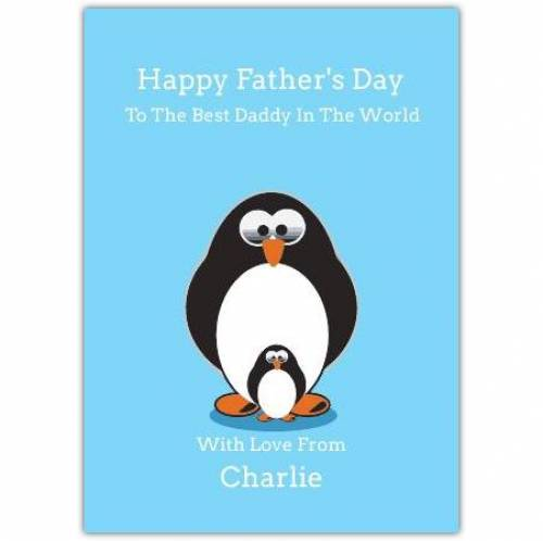 Penguin Dad And Child Father's Day Greeting Card