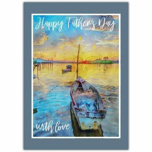 Vintage Sunset Painting Father's Day Greeting Card