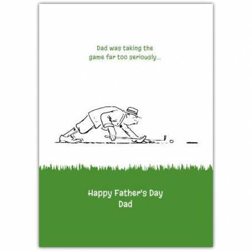Grass Golfing Father's Day Greeting Card