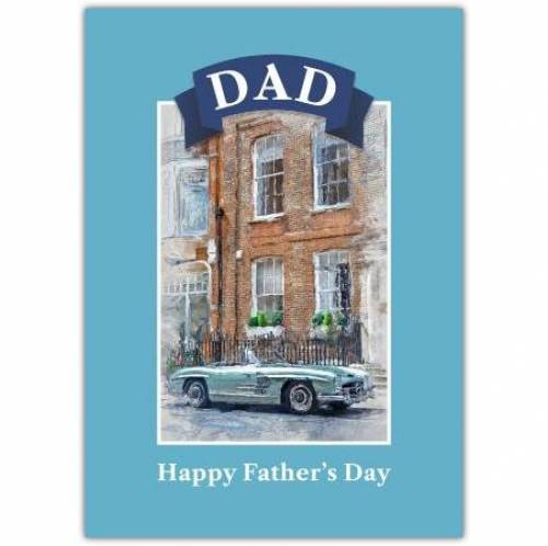Vintage Car Blue Painting Father's Day Greeting Card