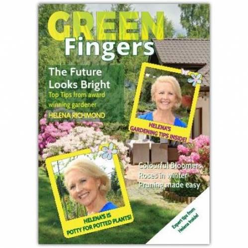 Green Fingers Magazine Gardening Greeting Card