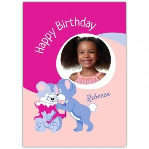 Pink One Photo Bears Birthday Card