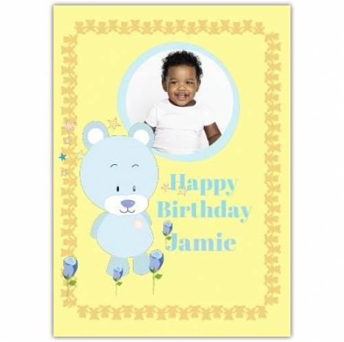 One Photo Happy Birthday Yellow Greeting Card