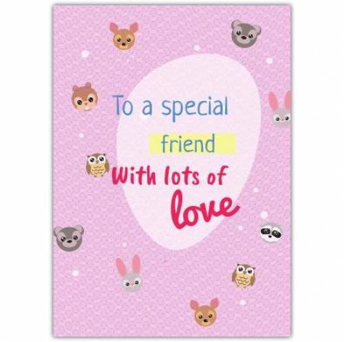 To A Special Friend Purple Animals Greeting Card