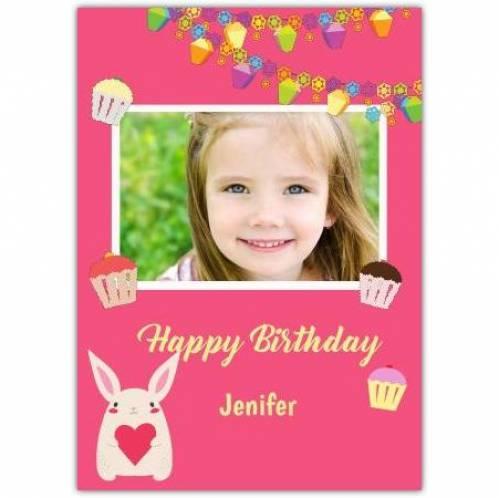 Bunny Rabbit One Photo Pink Birthday Greeting Card