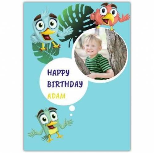 Birds One Photo Birthday Greeting Card