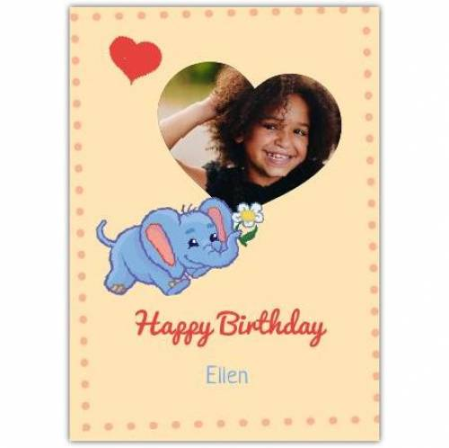 Elephant One Photo Birthday Card