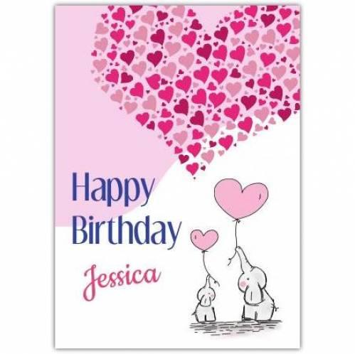 Elephant Heart Happy Birthday Greeting Card