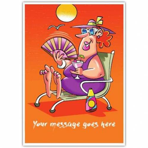 Orange Lady On Beach Any Message Card